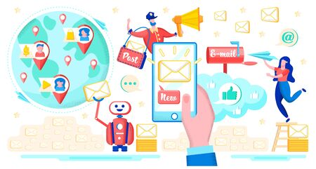 Messaging Application for Smartphone, Mobile E-mail Service Flat Vector Concept with Spam Robot Mailing to Clients Base, Postman Delivering Letter, E-mail Message Icon on Cellphone Screen Illustration