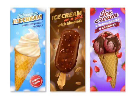 Realistic Ice Cream Different Taste Wrapper Set.