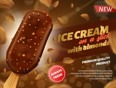 Realistic Banner Advertising Premium Quality Chocolate Ice Cream with Almonds on Stick. Fresh Cold Dessert with Nuts Sprinkling.