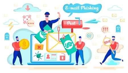E-mail Phishing, Money Fraud in Internet, Spyware Software or Application Flat Vector Concept with Rogue Criminal, Hacker Thief, Fooling Internet User, Stealing Money with Email Spoofing Illustration