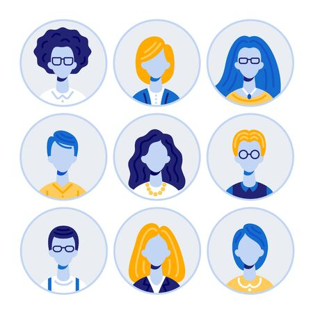 Set of Men and Women Characters Portraits, Round Avatar Icons Isolated on White Background, Collection of Young People Different Hair Styles, Types, Ages. Cartoon Flat Vector Illustration, Clip Art