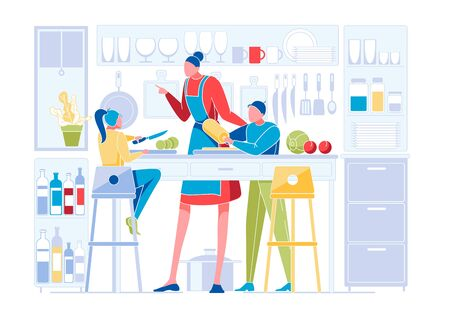 Happy Family on Kitchen. Mother Teaching Kids, Daughter and Son Cooking Dishes, Children Help Parents. Weekend Sparetime Together, Leisure, Duties, Loving Relations. Cartoon Flat Vector Illustration