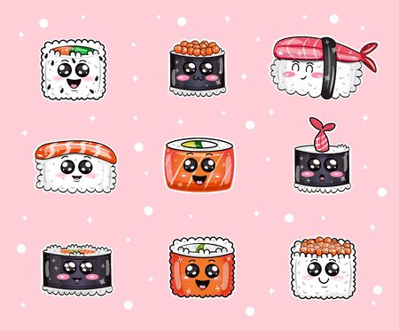 Funny Sushi with Cute Faces Flat Cartoon Vector Illustration. Sushi Roll Happy Characters Set Seamless Pattern. Ilustracja