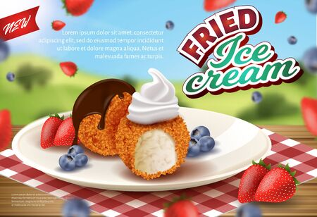 Realistic Banner Offering Deep Fried Ice Cream Balls in Crisp. New Premium Quality Dessert with Strawberry and Blueberry on Plate.