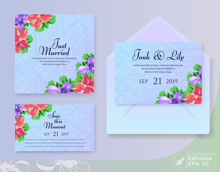 Cards Set with Wedding Blossom Flowers Composition Decor in Corners
