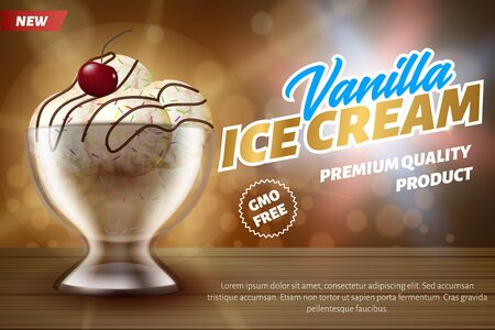 Realistic Banner Advertises Vanilla Ice Cream Balls with Cherry, Syrup or Topping on Top.