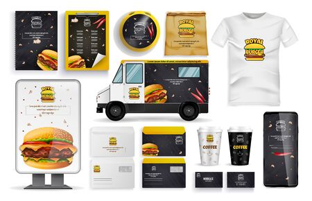 Burger Form, Delivery Vehicle, Online Mobile App, Cardboard Cup, T-shirt, Pockets, Sending Envelopes, Cards, Banners and Set.