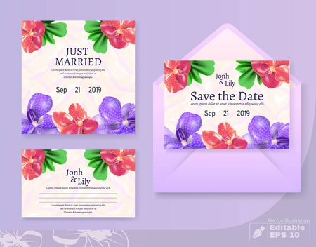 Just Married and Save Date Cards and Envelop Set. Wedding Flowers Decoration and Invitation Text.