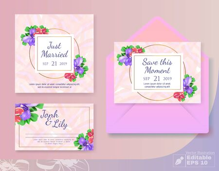 Romantic Wedding Set with Greeting Cards and Cover. Round and Square Shape Frames for Invite Save Moments, Just Married, Couple Name Text.