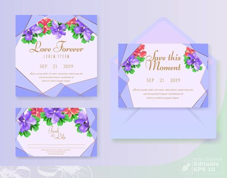 Floral Decorative Invitation Cards Set to Wedding Celebration. Bridal Shower Bouquet and Wreath.  イラスト・ベクター素材