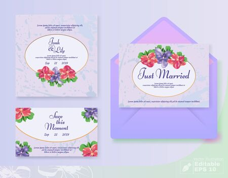 Vector Romantic Floral Wedding Invitation Card and Cover Set. Anemone Blossom Flower Composition as Decoration. Иллюстрация