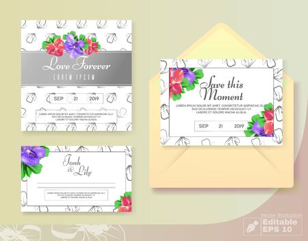 Simple Wedding Cards and Envelop with Anemone Buds Flowers Decoration. Иллюстрация