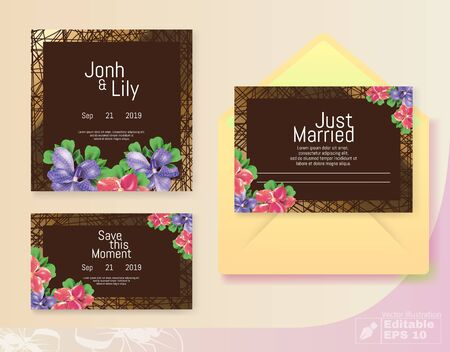 Classic Brown Wedding Cards. Grid Backdrop. Font Invitation and Couple Names Text with Event Date.