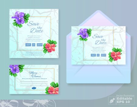 Wedding Set with Cards, Invitation and Envelop. Greeting Postcard in Floral Style.