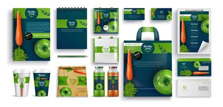 Fresh Food, Eco Products, Gift Notebooks, Cups from Cardboard, Bottle with Juice and Paper Pocket Set.