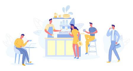 People Relaxing in Cafe Shop. Modern Place Interior to Meet, Drink and Eat, Chat, Have a Rest, Enjoy Free Time, Barista Make Coffee for Public, Hospitality, Spare Time Cartoon Flat Vector Illustration Çizim