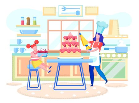 Cooking Homemade Pastry Flat Vector Concept. Daughter and Mother Wearing Toque Hat, Cooking at Home, Baking Pie, Decorating Holiday Cake with Sweet Cream and Cherries on Home Kitchen Illustration