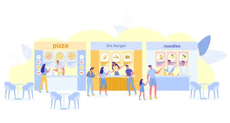People Visiting Food Court for Buying Food, Pizza, Noodles, Burger Kiosks Offer Different Meals, Family Spare Time, Weekend, Hospitality. Characters in Fast Food Cafe, Cartoon Flat Vector Illustration
