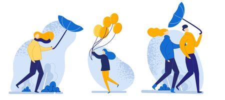 Banner-Set Menschen gehen in Windy Weather Cartoon. Starker Wind ist kein Hindernis für das Gehen. Vektorgrafik