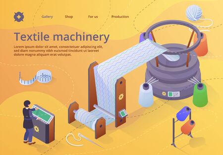 Textile Machinery Banner, Woman Factory Worker Character in Uniform Standing Near Controlling Panel of Huge Weaver Loom Creating Cloth. Plant Facilities, Equipment. Isometric 3d Vector Illustration,