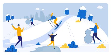 Informative Poster Winter Fun in Snowy Weather. Snow Slides in Countryside, People have Fun in Cold. Girl Sculpts Snowman. Guy is Skiing. People Play Snowballs. Vector Illustration.