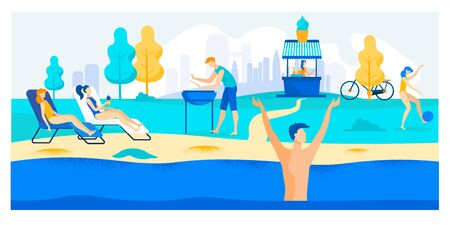 Advertising Banner Weather Conditions in Summer. Girls Lie on Lounger by Pool and Sunbathe. Guy Cooking on Barbecue. Man Bathes in Reservoir and Rejoices Summer. Vector Illustration.