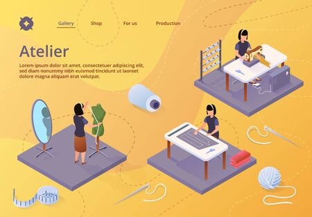 Atelier, Textile Craft Business, Dressmakers Making Out Clothes on Table, Clothing Designer Working with Mannequin. Tailor Create Outfit on Sewing Machine, Isometric 3d Vector Illustration, Banner Иллюстрация