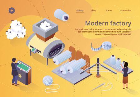 Moderne Textilfabrik. Automatisierte Maschine für die Garnherstellung. Herstellung einer Wickelmaschine für Baumwollfasern, die auf eine große Welle geschraubt wird. Anlagenmaschinen, Ausrüstung. Isometrische 3D-Vektor-Illustration, Banner Vektorgrafik