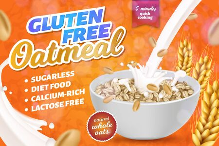 Gluten, Lactose Free Oatmeal Horizontal Banner, Five Minutes Quick Cooking, Sugarless Calcim Rich Diet Food, Oat Porridge in Plate with Pouring Milk Advertising Poster Realistic 3d Vector Illustration