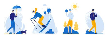 Flat Flyer Guy in Different Weather Conditions. Guy Skiing in Winter and Wind. Man Walking with Dog in Rain. Walks in Fresh Spring and Summer. Vector Illustration on White Background. Stock Illustratie