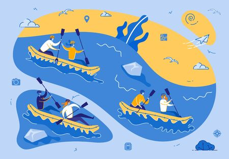 Kayaking or Rafting Sport Competition. Sportsmen Rowing in Kayaks at Rocky Shore. Wild Nature and Water Fun on Summer Vacation. Tourists Company Extreme Activity. Cartoon Flat Vector Illustration Banco de Imagens - 130742396