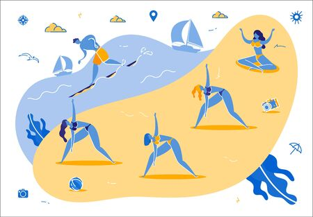 Group of Women Practicing Yoga or Fitness on Beach, Man Surfing and Sailing at Ocean Waves in Summer Time. Relaxation on Coast. Outdoors Meditation in Lotus Asana. Cartoon Flat Vector Illustration.