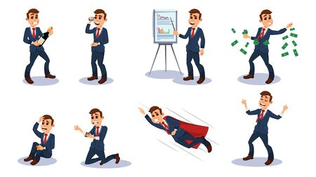 Businessman Character Flat Cartoon Vector Illustration. Office Worker in Different Positions. Man Talking on Mobile Phone, Leading Presentation, Throwing Money, sitting in Despair, Flying like Hero. Stock Illustratie