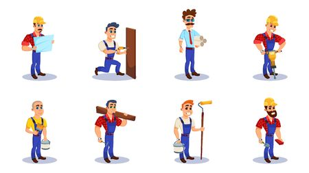 People Working as Engineers and Builders and Repairman Flat Cartoon Vector Illustration. Man Holding Plans and Schemes for building. Male Carrying Tools such as Bucket, Drill, Glass, Brush.