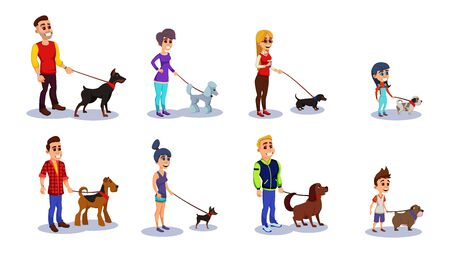 People with Dogs Isolated on white Background Flat Cartoon Vector Illustration. Set of Men, Women and Kids Holding Domestic Animals. Different Pet Breeds such as Bulldog, Poodle on Leash.