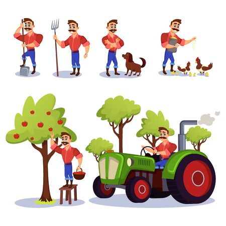 Farmer Charecter Working at Farm Flat Cartoon Vector Illustration. Man Caring for Hen and Chicks, Feeding Animals, Gathering or Collecting Apples from Tree. Male Worker Driving Tractor.