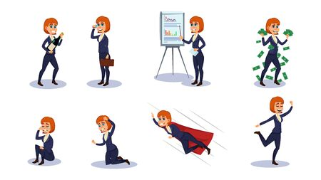Business Woman Character in Formal Suit Flat Cartoon Vector Illustration. Office Worker in Different Poses. Woman Holding Bottle with Champagne, Talking on Phone, Showing Presentation, Crying.