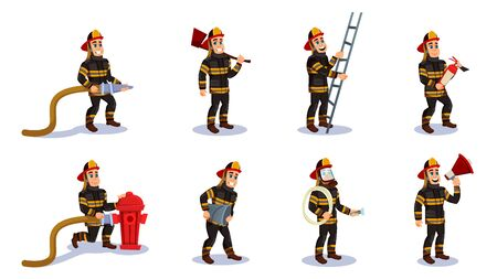 Firemen Characters Set Flat Cartoon Vector Illustration. Firefighter in Different Situations with Rescue Equipment. Firefighting Emergency Concept. Man in Helmet with Extinguisher and Bucket.