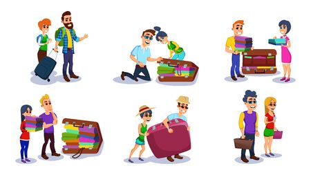 Tourist Man, Woman Packing Luggage Flat Cartoon Vector Illustration. Traveling People in Trip Wear Baggage with Clothing Isolated on White Background. People Couple with Suitcases. Stock Illustratie