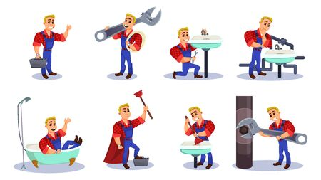 Plumber at Work Flat Cartoon Vector Illustration. Characters Design Set. Occupation Builder and Repairman. Man Repairing Tubes, Eliminating Breakage Sink, Holding large Wrench and Plunger.
