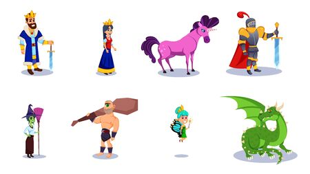 Fairy Tales Characters Flat Cartoon Vector Illustration. Fantasy Knight and Dragon, Prince and Princess, Magic World Queen and King. Unicorn with Horn. Wizard with Broom. Cyclops with Mace.