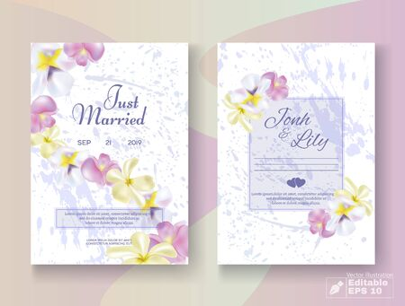 Romantic Floral Wedding Invitation Card Set. Place for Editable Text in Frame and Date. Just Married and Bridal Couple Name Lettering. Marble Design. Blossom Flower Buds Decor. Vector EPS Illustration
