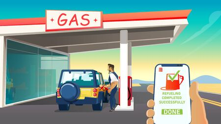 Man, Cartoon Character Refueling Car on Gas Station and Smartphone Screen with Software Interface Controls Petrol or Gasoline Level and Fuel Consumption. Fuel Manager App. Flat Vector Illustration.