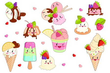 Ice Cream in Waffle Cones and Fruits, Ice Lolly in Kawaii Style with Pink Cheeks and Winking Eyes in Pastel Colors Flat Cartoon Vector Illustration. Taste with Strawberry, Cherry, Orange.