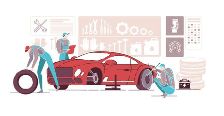 Car Mechanics Working in Auto Repair Service Flat Cartoon Vector Illustration. Car Diagnostics. Fixing Vehicles, Changing Wheels in Garage. Equipment for Reparing Transport on Shelf.