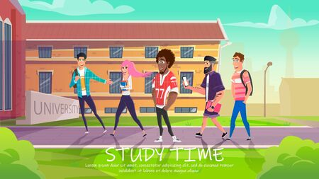 Students Entering University Building Flat Cartoon Vector Illustration. Study Time Concept. Diverse Happy Peolpe Going to Learn. Boys and Girl Holding Rucksacks, Books and Mobile Phone.