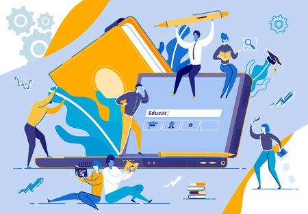 Tiny People Moving Around of Huge Laptop Monitor on Blue Background with Outline Elements. Search Window on Screen. Students Holding Books, Magnifier Glass, Stationery Cartoon Flat Vector Illustration  イラスト・ベクター素材