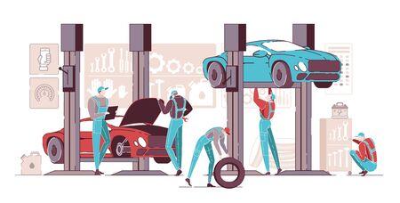 Car Repair Maintenance Autoservice Center or Garage Interior with Mechanics Testing Lifted Vehicles Flat Cartoon Vector Illustration. Car Diagnostics. Equipment for Reparing Transport.