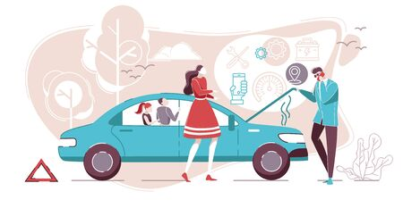Car Failure with Couple Standing near Broken Car on Road Flat Cartoon Vector Illustration. Man in Business Suit Talking on Phone. Roadside Assistance. Automobile Repair Service. Accident. Banque d'images - 130454842