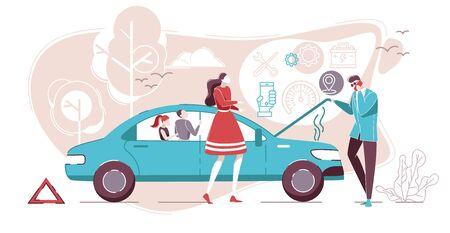 Défaillance de la voiture avec un couple debout près de la voiture cassée sur l'illustration vectorielle de dessin animé plat de route. Homme en costume d'affaires parlant au téléphone. Assistance routière. Service de réparation automobile. Accident.